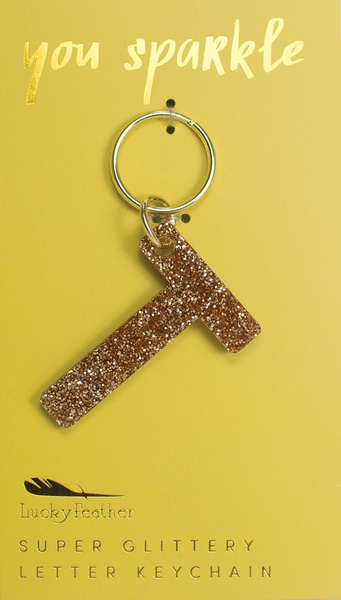 Lucky Feather Gold Glitter Keychain: T