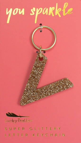 Lucky Feather Gold Glitter Keychain: V
