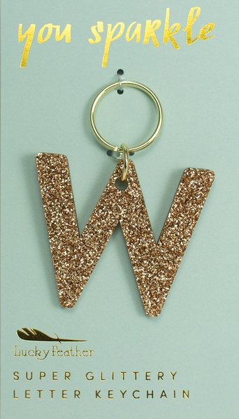 Lucky Feather Gold Glitter Keychain: W