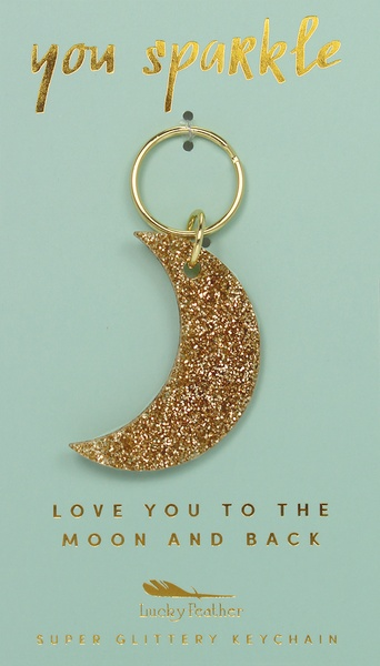 Lucky Feather Gold Glitter Key: Moon
