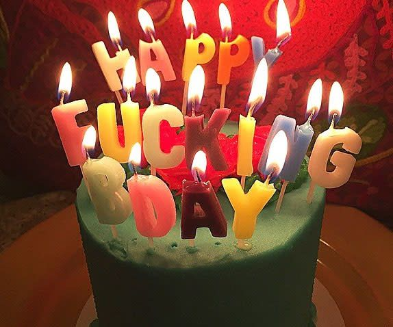 NPW Happy Fucking Bday candles