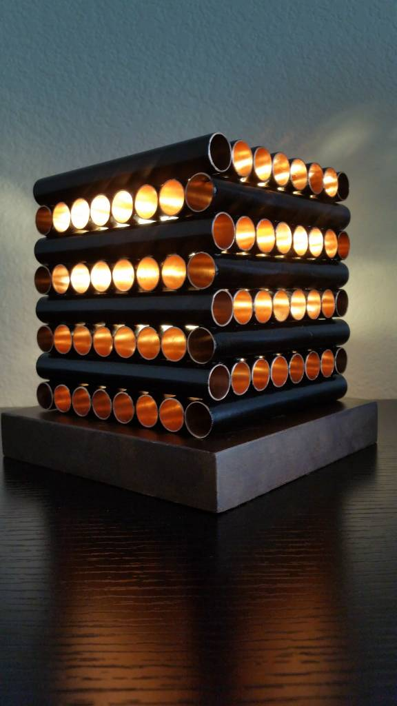 allenstecker Cube Lamp w/ Stacked Copper Pipes