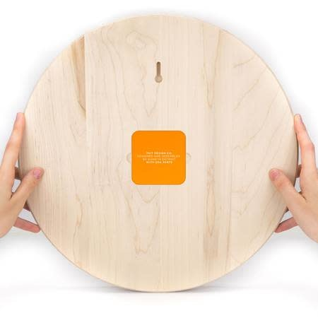 taitdesigncompany Tangerine Solid Maple Wall Clock