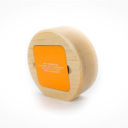 taitdesigncompany Tangerine Solid Maple Desk Clock