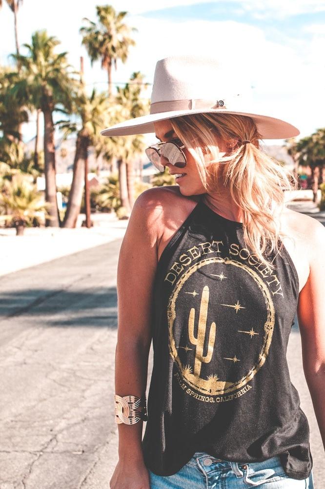 Twin Palms Desert Society Gold Shimmer Halter
