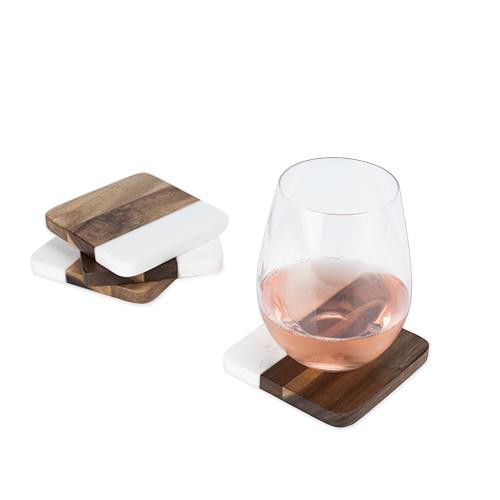 viski Aracia Wood & Marble Coasters
