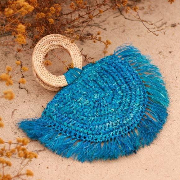 Brunna Atta Warrior Raffia Fringes Straw Bag Blue