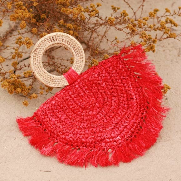 Brunna Atta Warrior Raffia Fringes Straw Bag Red