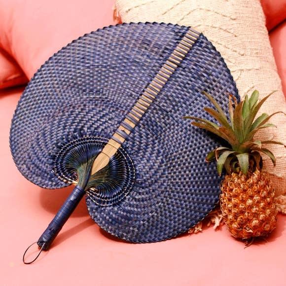 Brunna Balinese Woven Hand Fan Azure