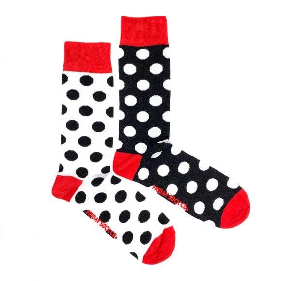 fridaysockco Black & White Dots socks