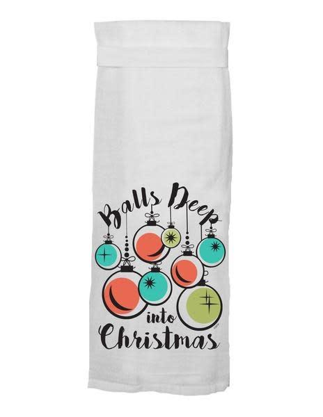 Twisted Wares Balls Deep Into Christmas Tea Towel