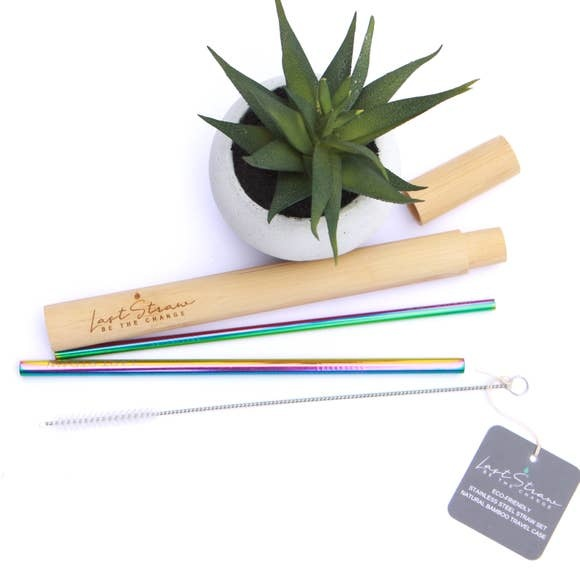 LastStraw Rainbow Straw Set of 4, Bamboo Case