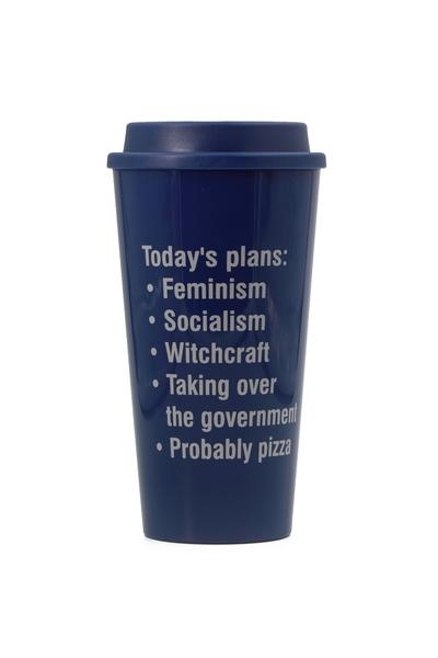 Getbullish Todays Plans Feminism Blue Travel Mug