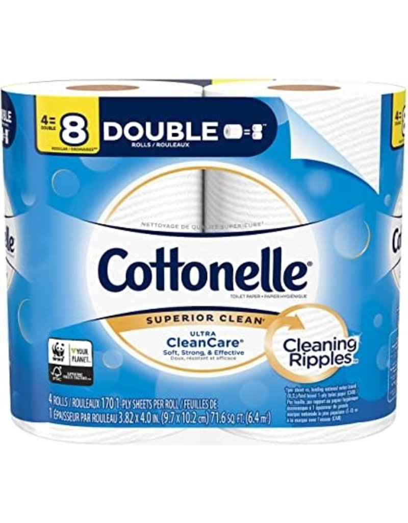 Cottonelle Cottonelle Double Roll 1 Ply, 4 ct (Pack of 12)