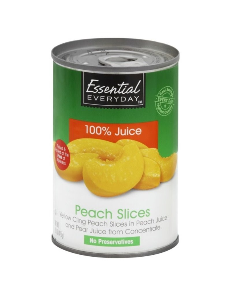 Essential Everyday EED Sliced Peaches in 100% Juice, 15 oz, 24 ct