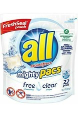 all all Mighty Pacs Laundry Detergent, 22 ct, 6 pack