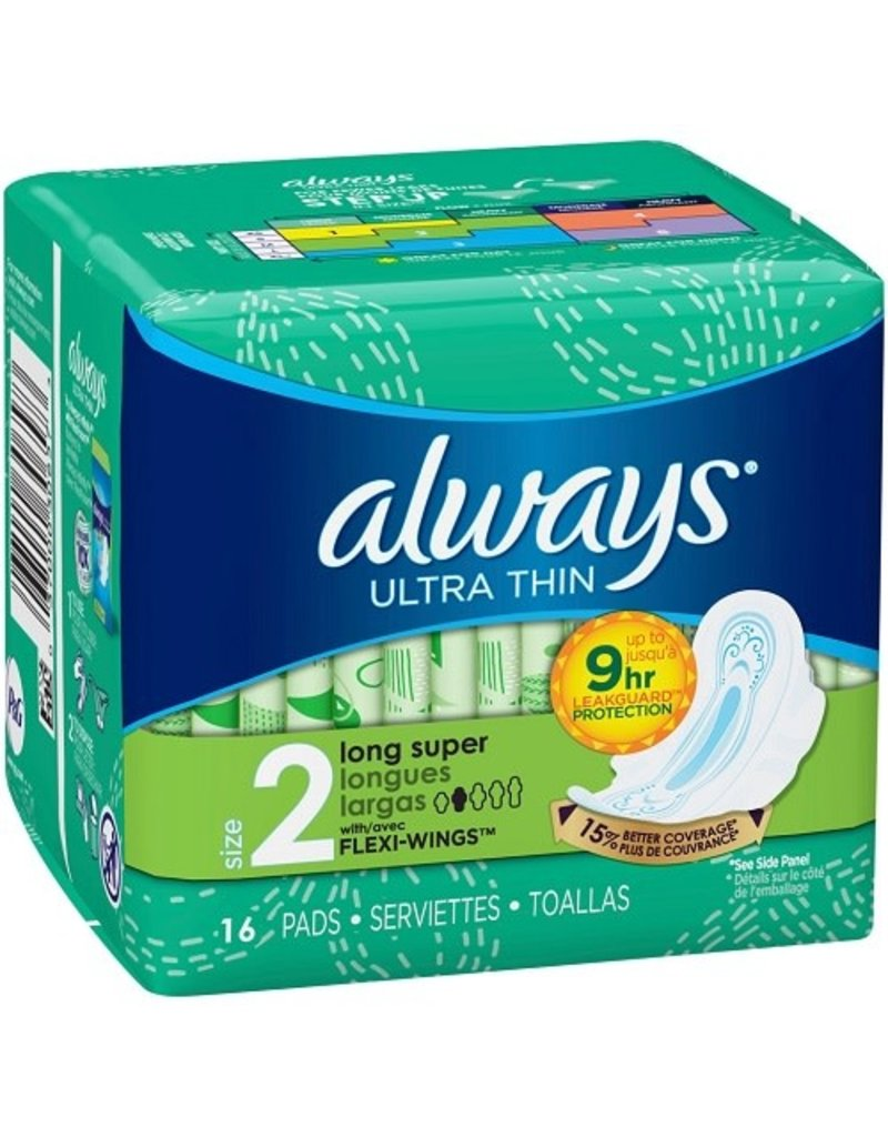 Always Always Pads Super Ultra Thin Long W/Wings, 16 ct (Pack of 6)