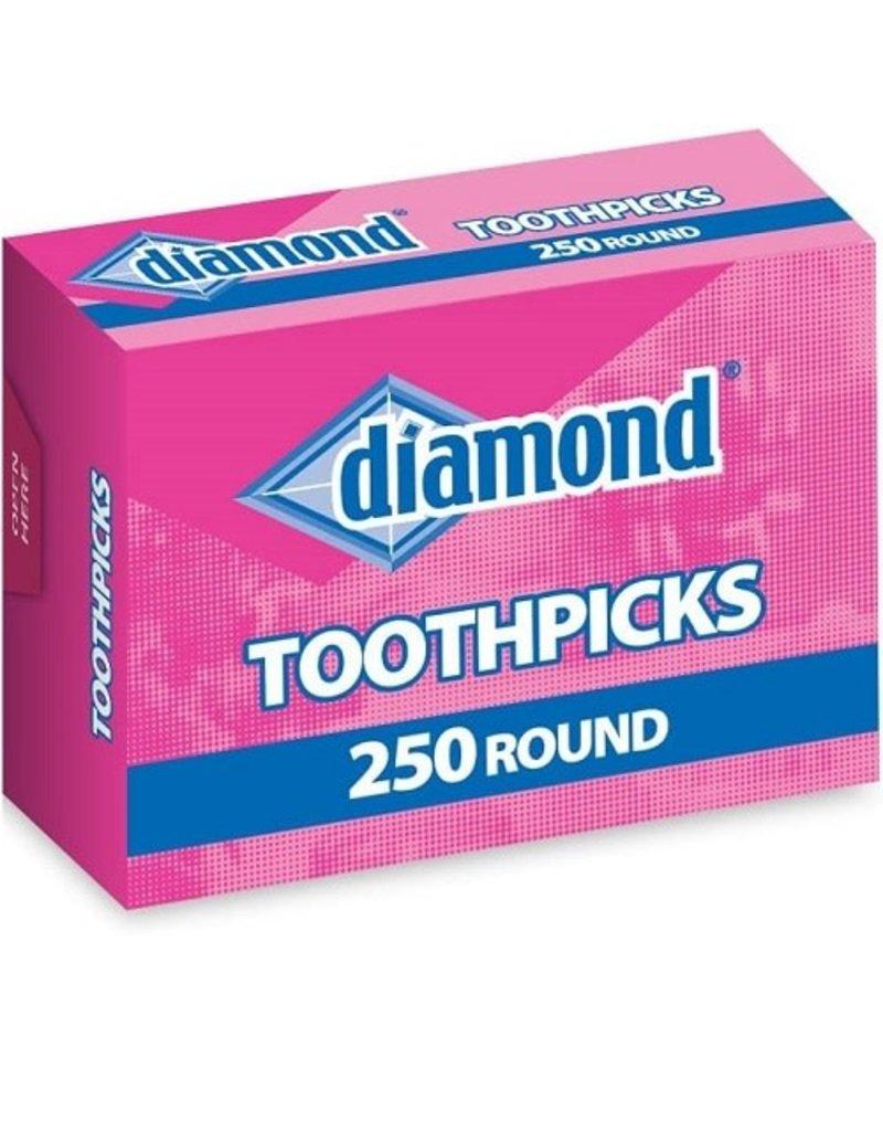 Diamond Foods Diamond Toothpick Round, 250 ct (Pack of 24)