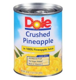 Dole Dole Crushed Pineapples In Juice, 20 oz, 12 ct
