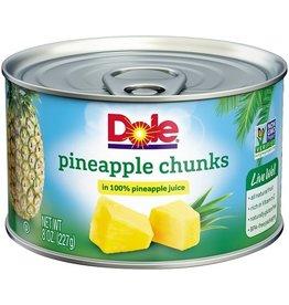 Dole Dole Pineapple Chunks In Juice, 8 oz, 12 ct
