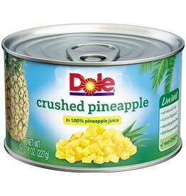 Dole Dole Pineapple Crushed In Juice, 8 oz, 12 ct