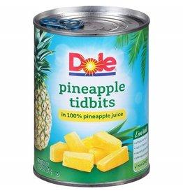 Dole Dole Pineapple Tidbits In Juice, 20 oz, 12 ct