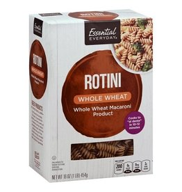 Essential Everyday EED Whole Wheat Rotini Pasta, 16 oz, 12 ct