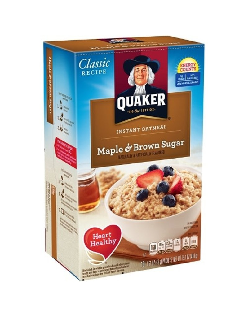 Quaker Quaker Maple Brown Sugar Instant Oatmeal, 15.1 oz