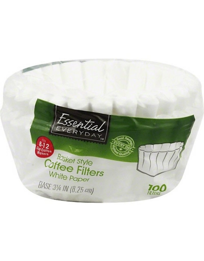 Essential Everyday EED White Basket Coffee Filter, 100 ct (Pack of 12)