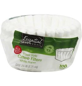 Essential Everyday EED White Basket Coffee Filter, 100 ct