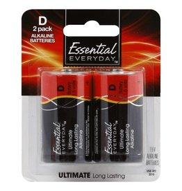 Essential Everyday EED Alkaline D Batteries, 2 pk