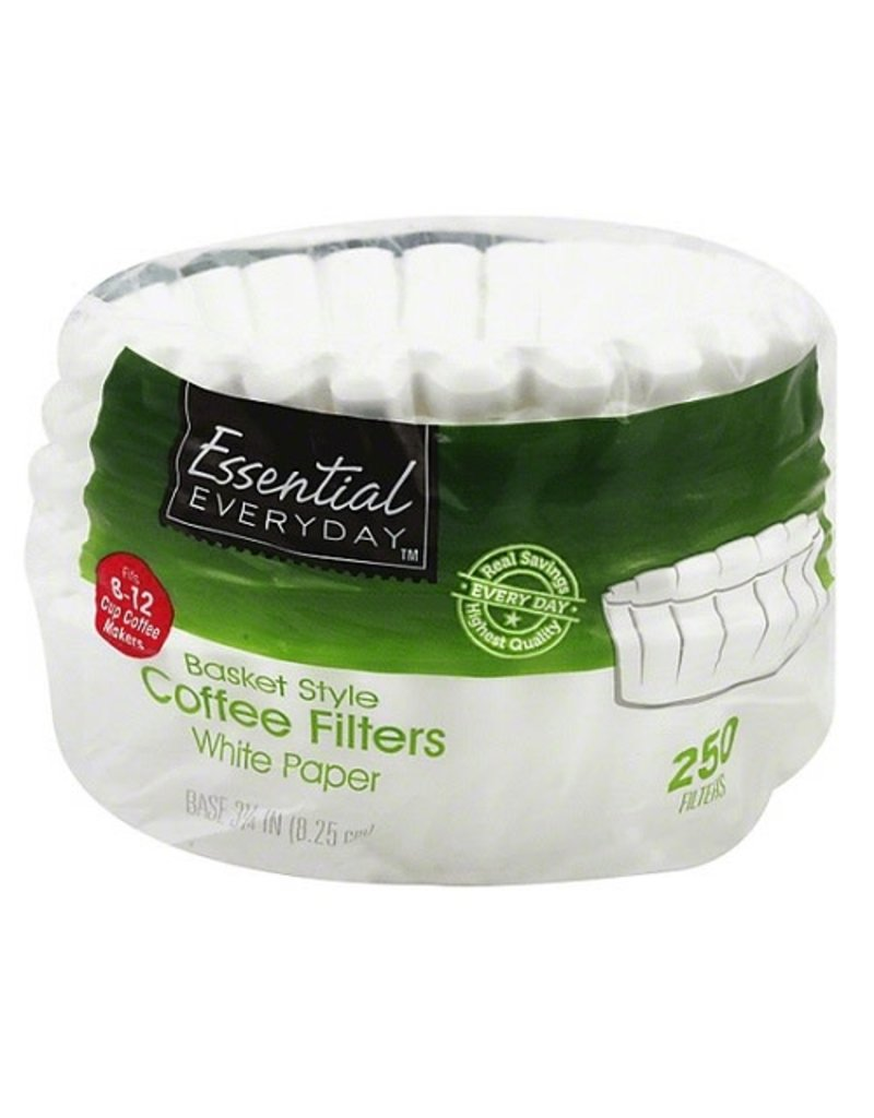 Essential Everyday EED White Coffee Basket Filter, 250 ct (Pack of 24)