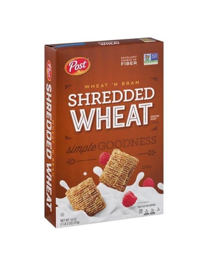 Post Post Shredded Wheat, Wheat 'N Bran, 18 oz