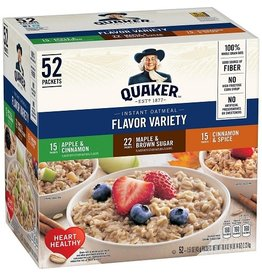 Quaker Quaker Instant Oatmeal Flavor Variety Pack, 52 ct