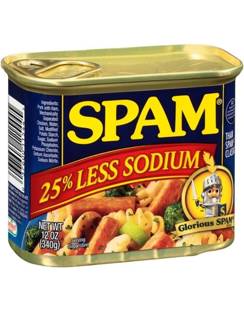 Spam Spam Luncheon Meat 25% Less Sodium, 12 oz, 8 ct