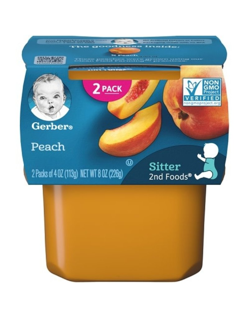 Gerber Gerber 2nd Foods Peaches, 8 oz, 8 ct