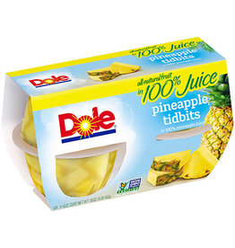 Dole Dole Pineapple Tidbits in 100% Juice, 4 ct (16 oz), 6 ct