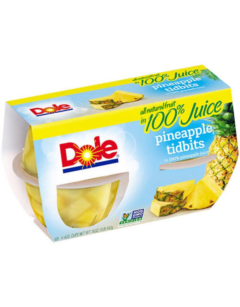 Dole Dole Pineapple Tidbits in 100% Juice, 4 ct (16 oz), 6 ct