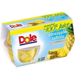 Dole Dole Pineapple Tidbits in 100% Juice, 4 ct (16 oz)