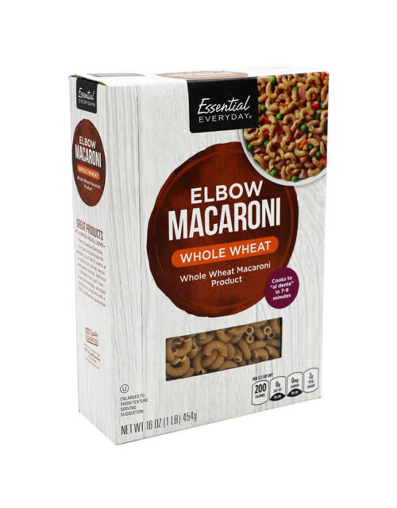 Essential Everyday EED Whole Wheat Elbow Pasta Mac, 16 oz, 12 ct