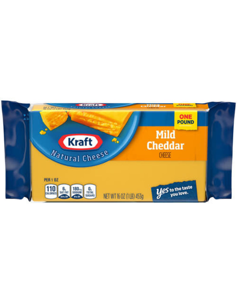Kraft Kraft Mild Cheddar Cheese Chunk, 16 oz, 12 ct