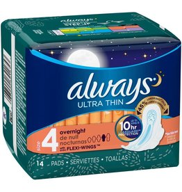 Always Always Pads Ultra Overnight W/Wings, 14 ct (Pack of 6)