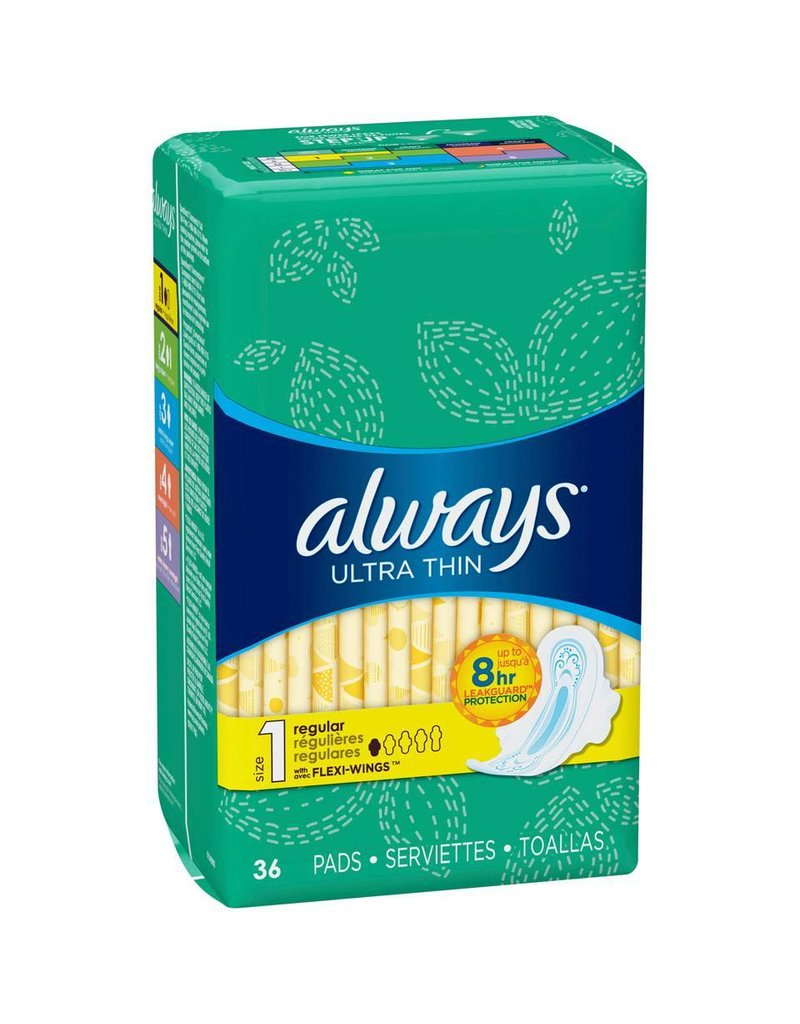 Always Always Ultra Thin Regular W/Wings, 36 ct (Pack of 6)
