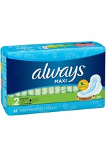 Always Always Maxi Long Super W/Wings, 32 ct (Pack of 6)