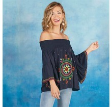 Teddi Embroidered Top Navy