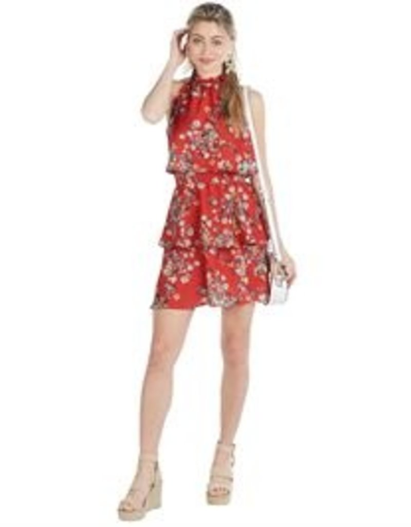 Mud Pie Pacey Flounce Dress Red