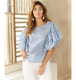 Mud Pie Culver Ruffle Top Blue