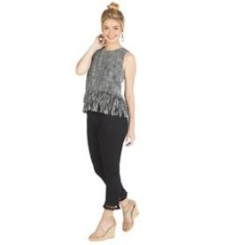 Mud Pie River Fringe Tank Black