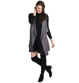 Mud Pie Isabelle Suede Vest  - Gray