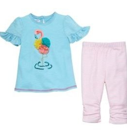 Mud Pie Chiffon Flower Flamingo Tunic and Capri Set